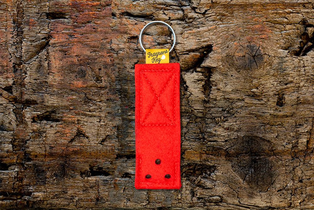 Naturfilz Schlüsselanhänger mit Duftfunktion rot